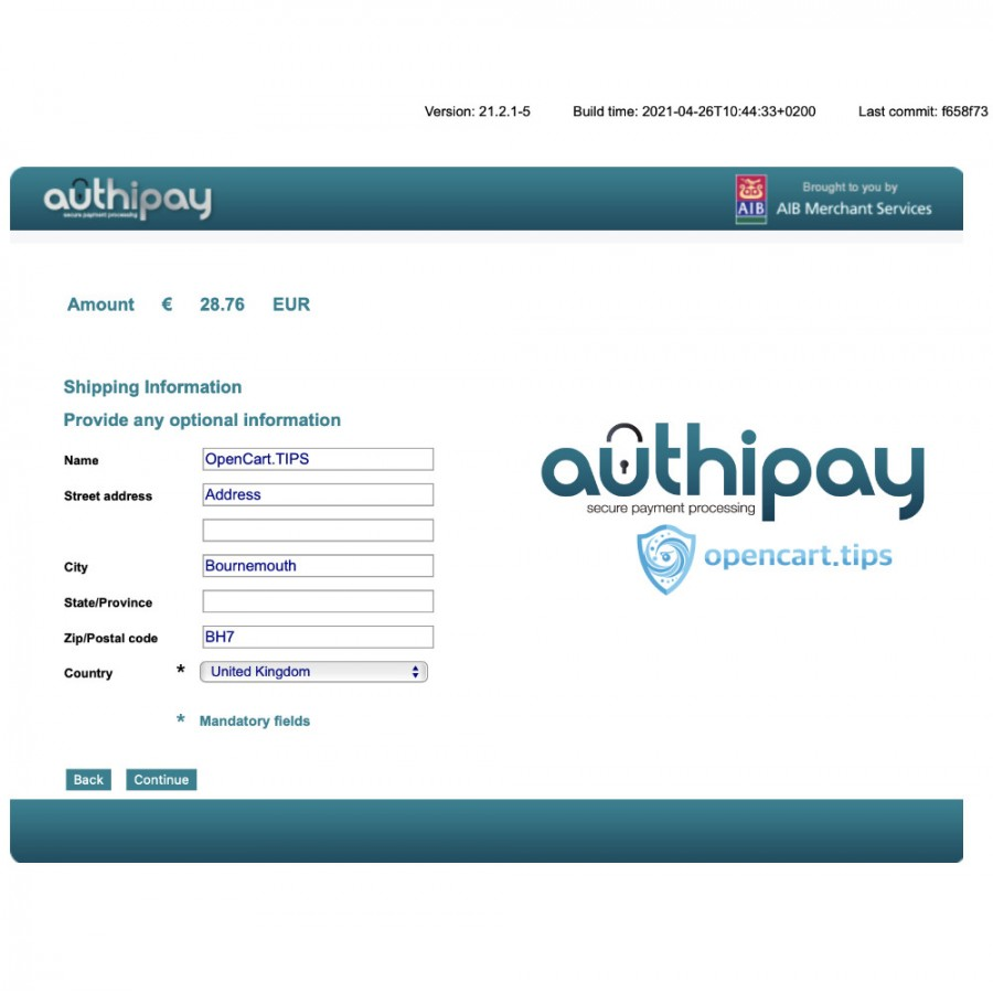 Authipay OpenCart