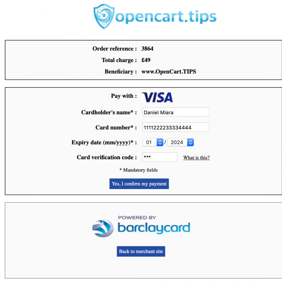 Barclaycard ePDQ Opencart 2