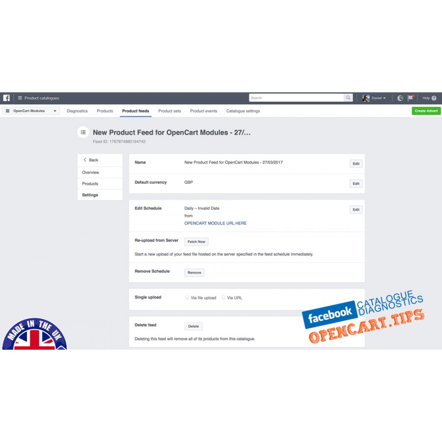 Facebook PIXEL / product feed OpenCart 2