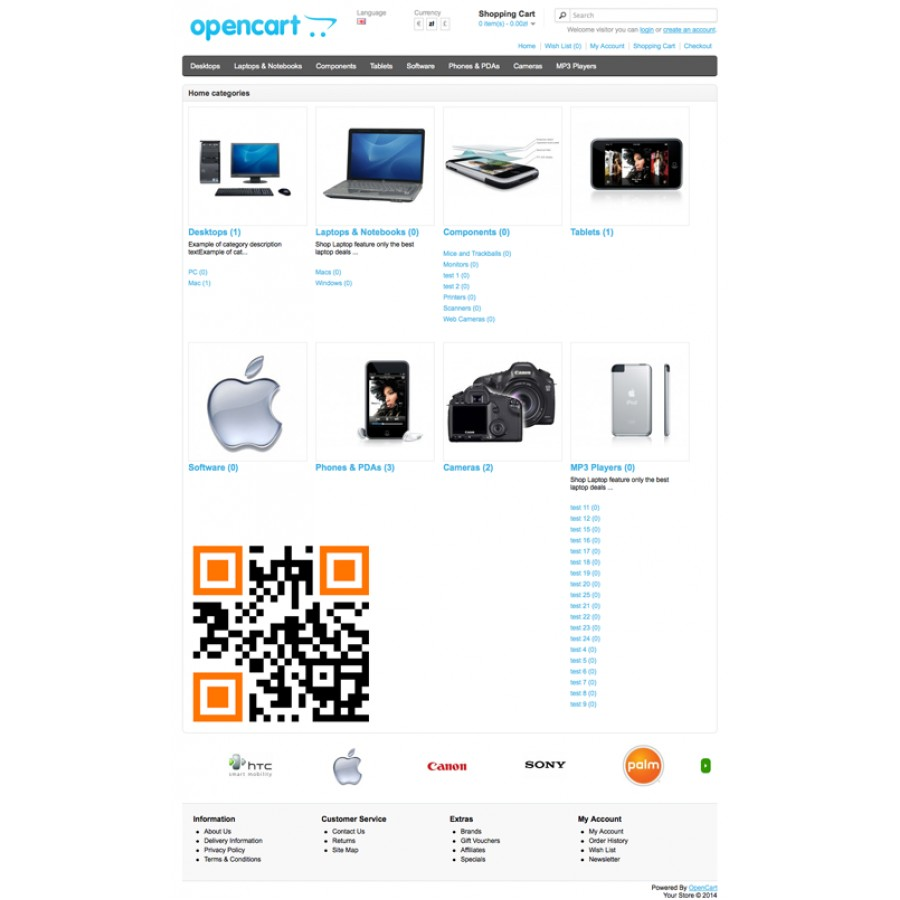 Home Page Categories OpenCart 1.5