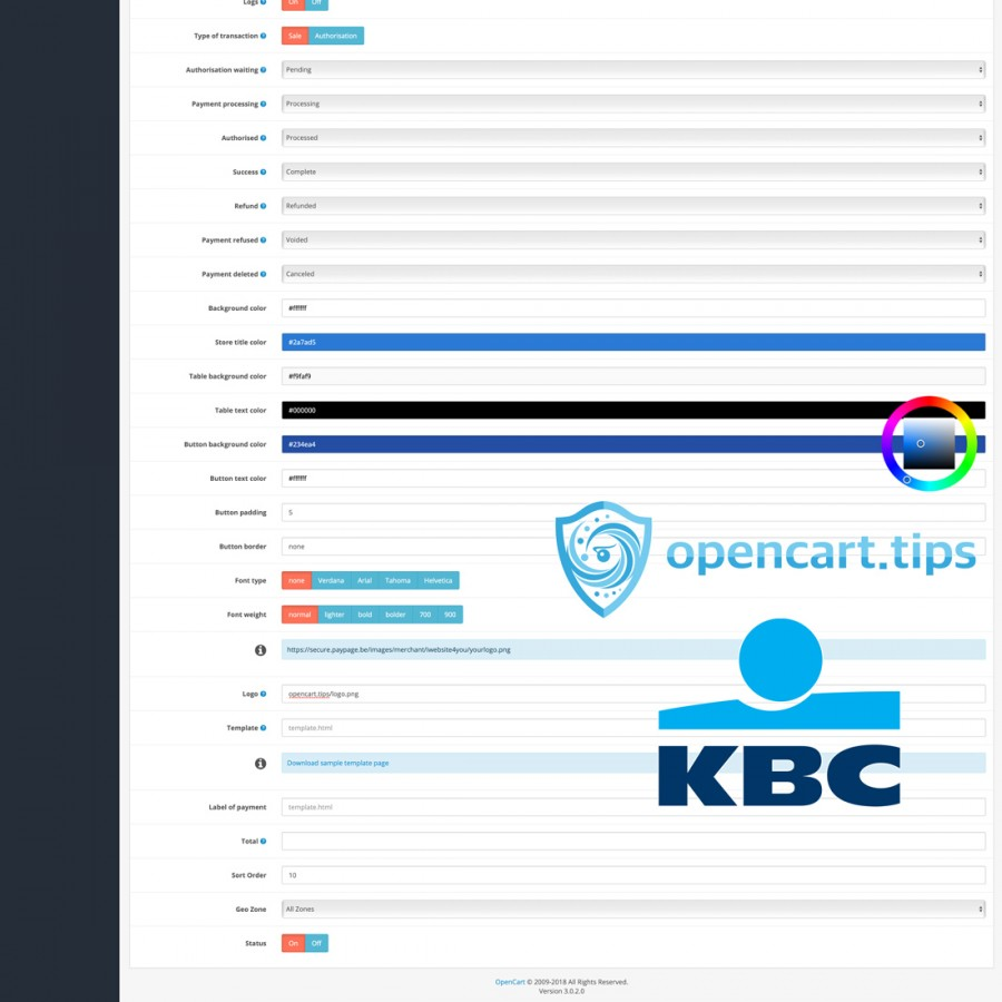 KBC Paypage Credit Card OpenCart 3