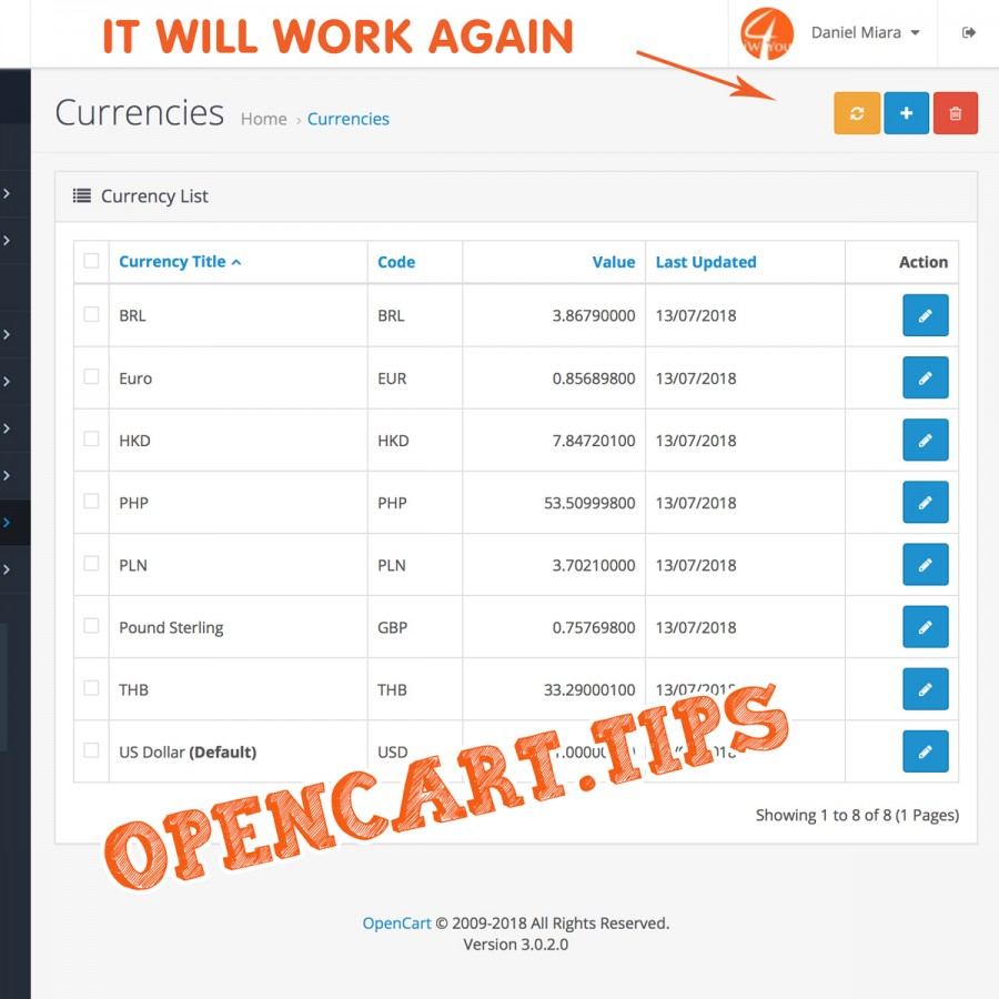 Fix of currency rates Opencart