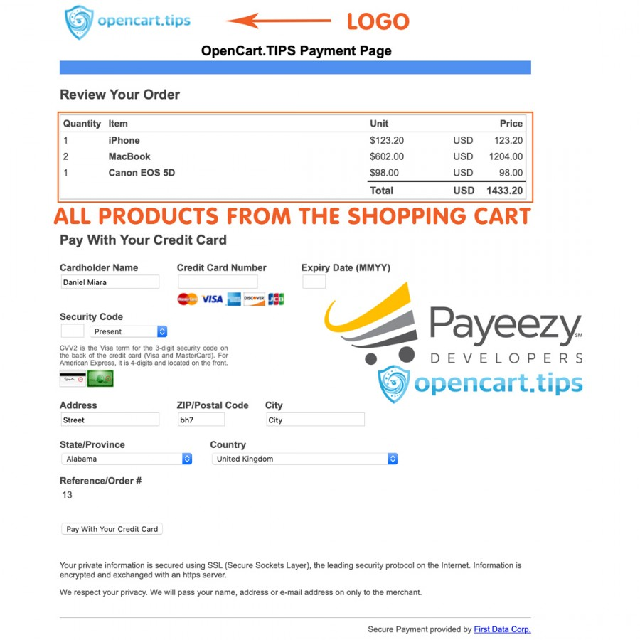 Payeezy Hosted Page First Data OpenCart