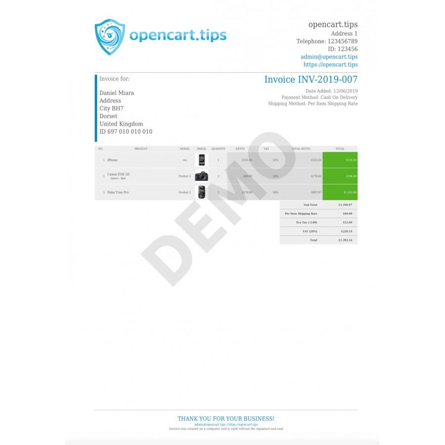 PDF Invoice OpenCart 3