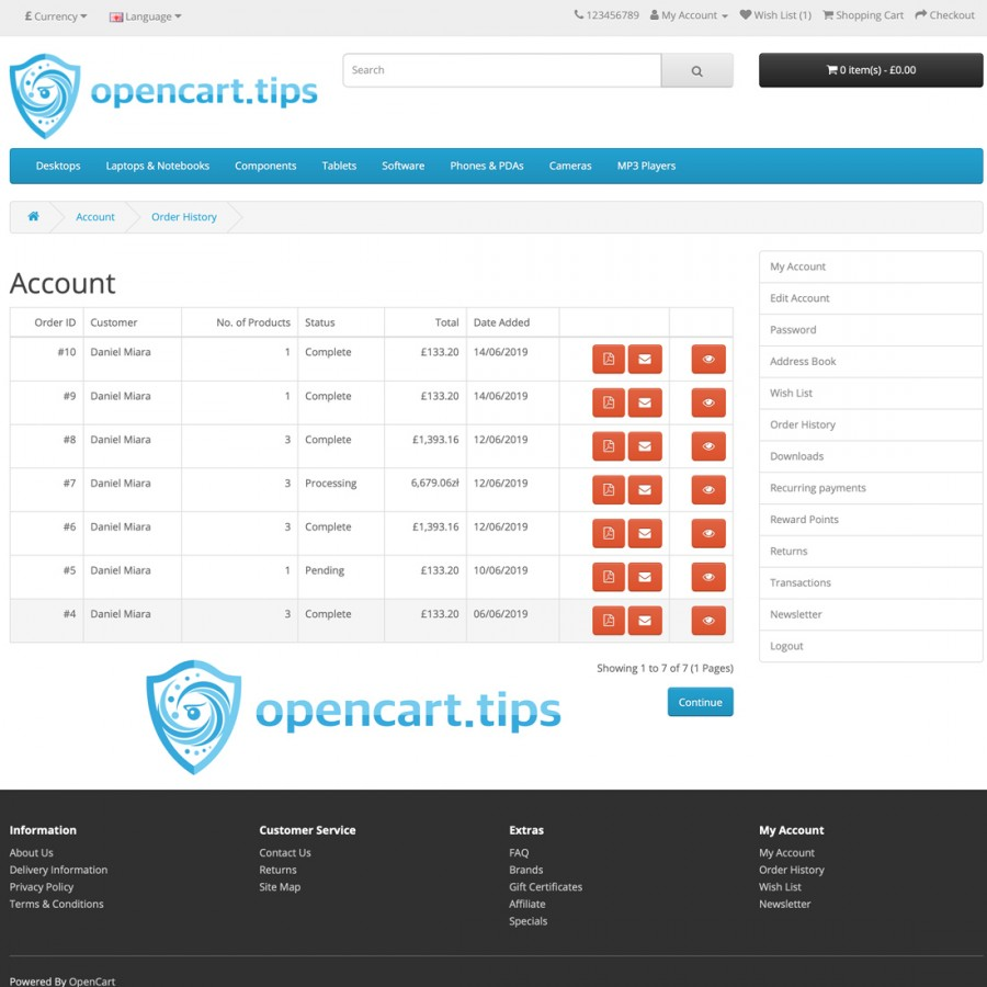 PDF Invoice OpenCart