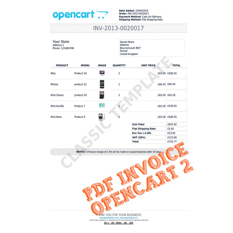 PDF Invoice OpenCart 2
