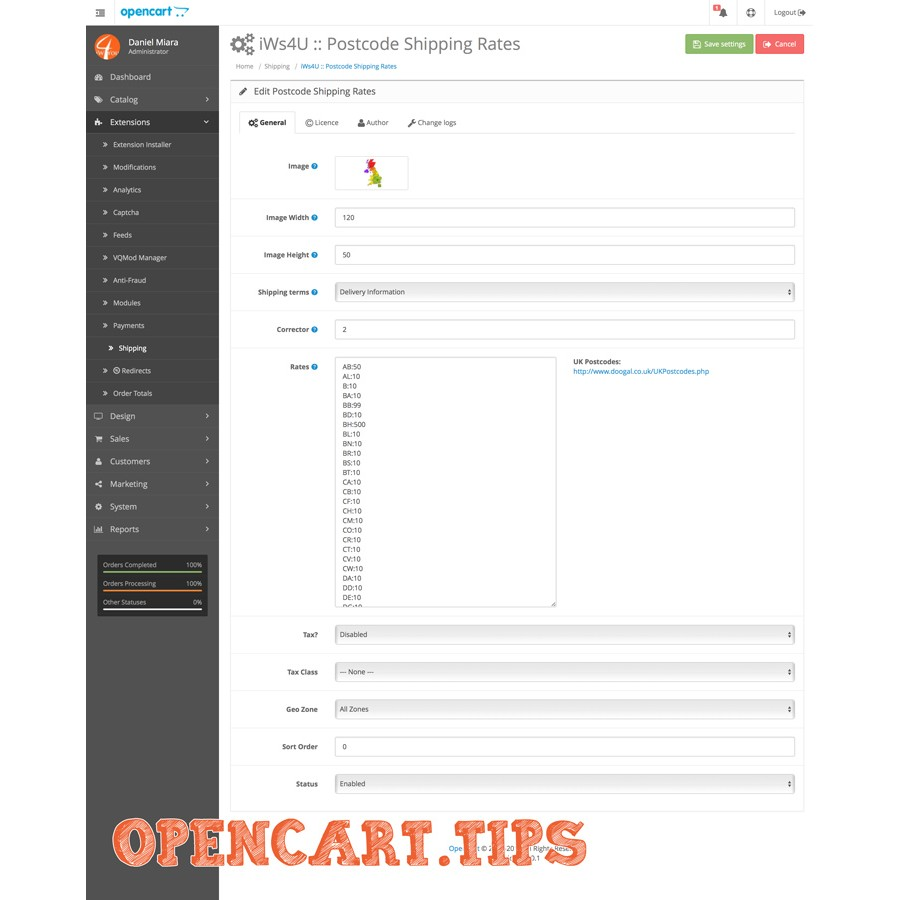 Postcode Shipping Rates OpenCart 2