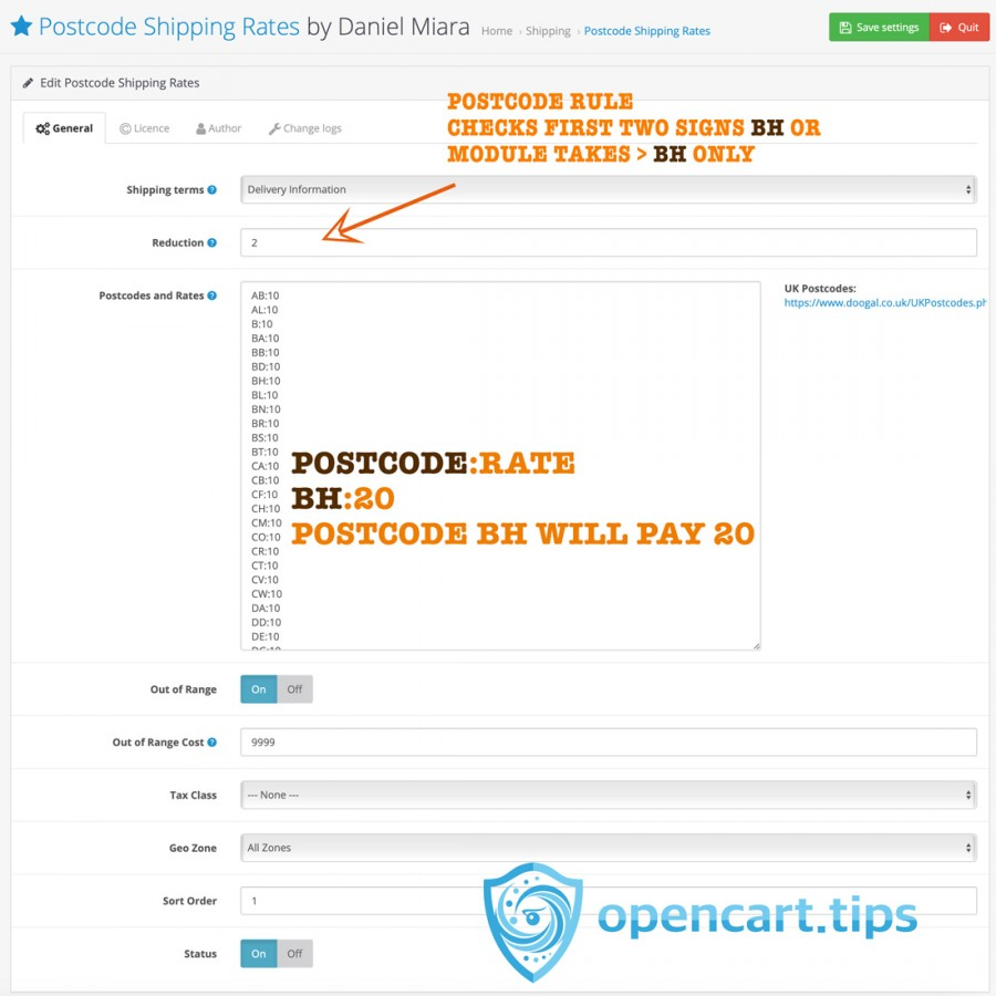 Postcode Shipping Rates OpenCart