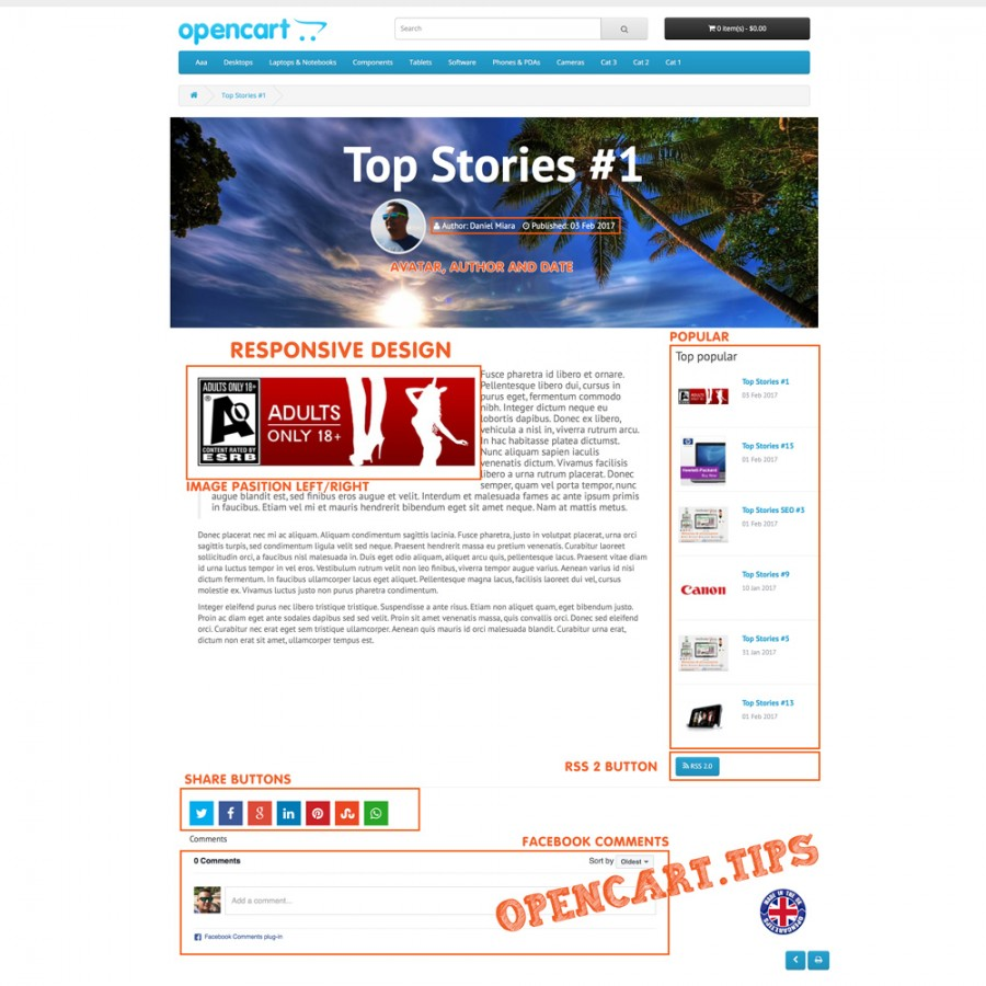 Rebel Blog CMS Opencart 2