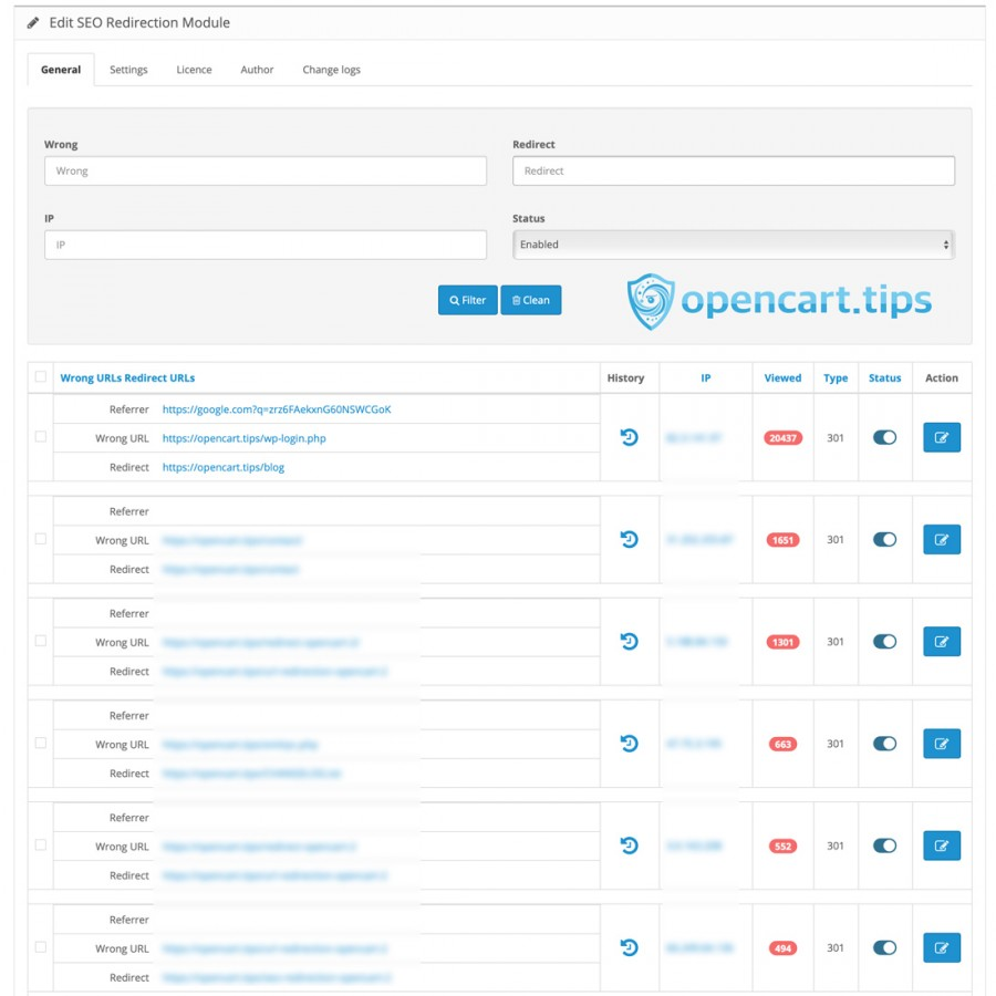 SEO Redirection OpenCart