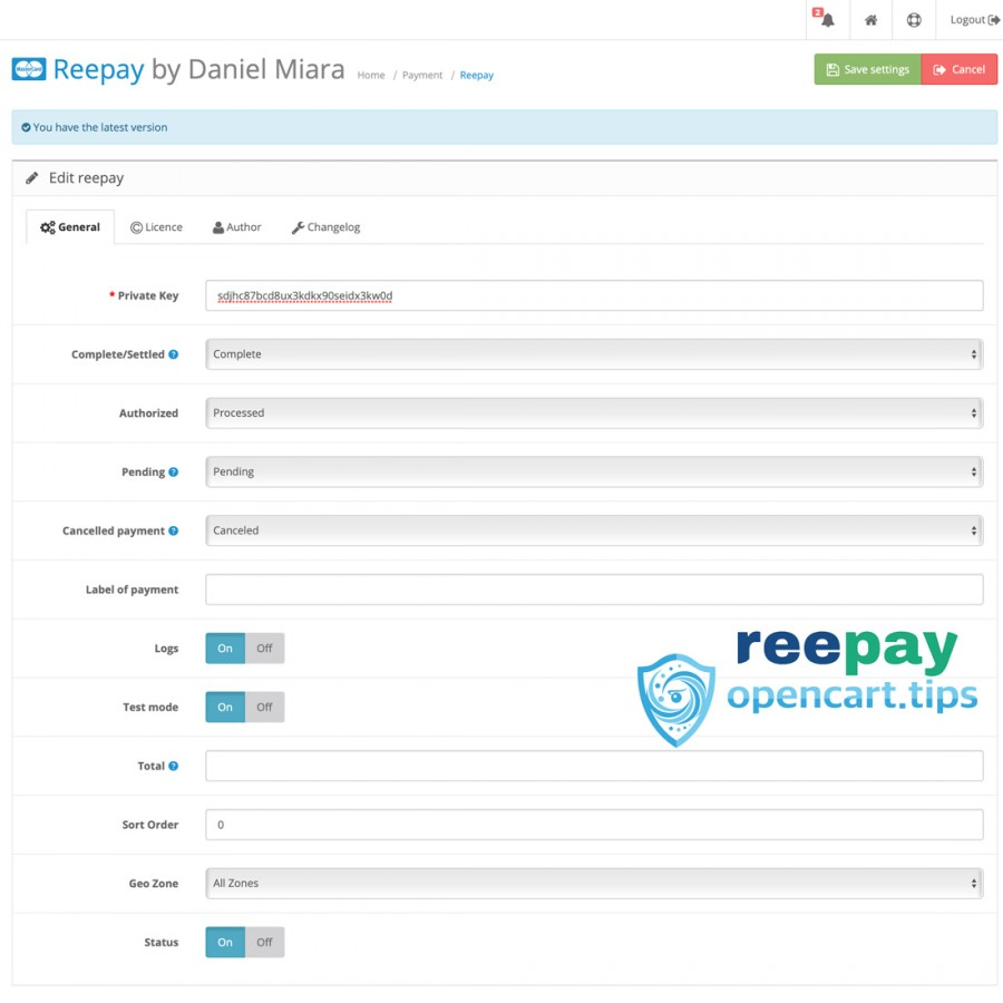 Reepay A/S OpenCart 2