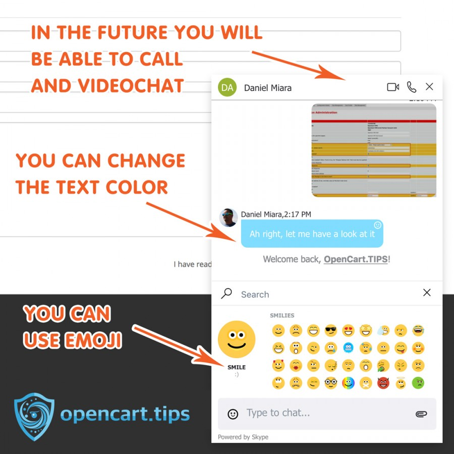 Skype Messanger Livechat OpenCart 2