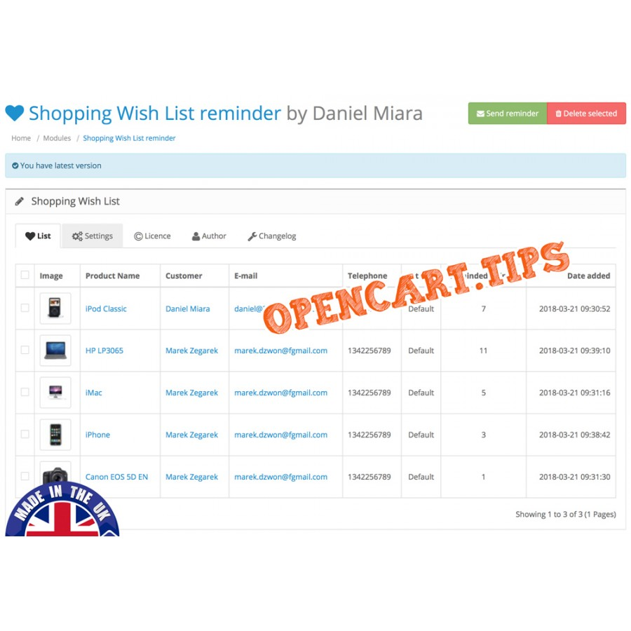 Shopping Wish List reminder Opencart 2