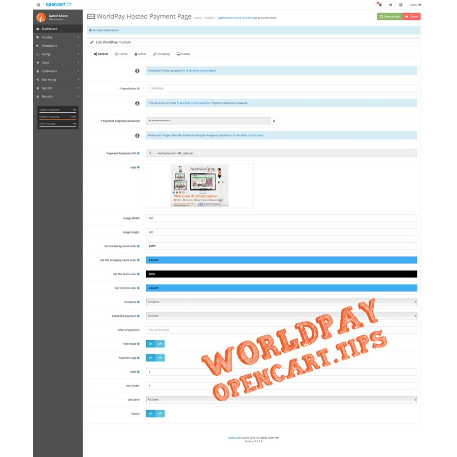 Worldpay Business Gateway OpenCart 2