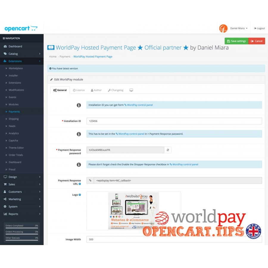 Worldpay Business Gateway OpenCart 3