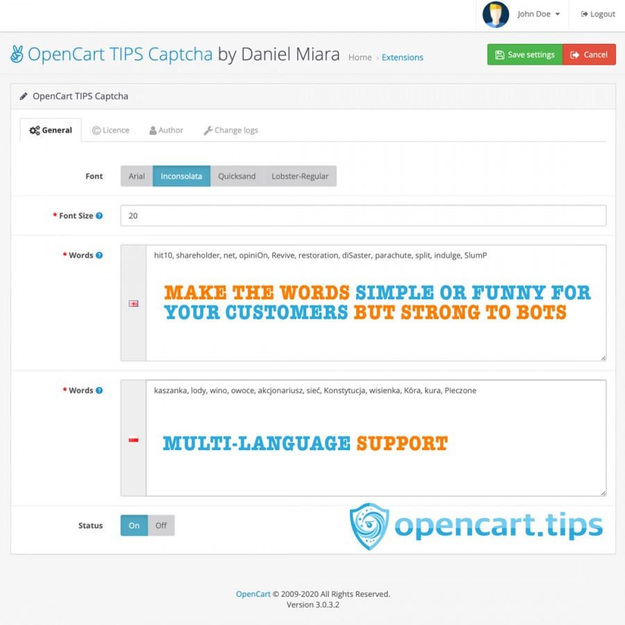 Captcha Words OpenCart