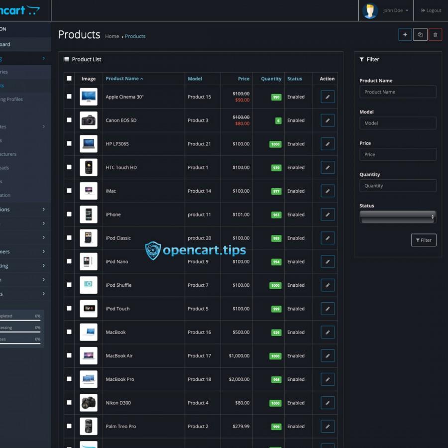 Dark Mode Admin OpenCart