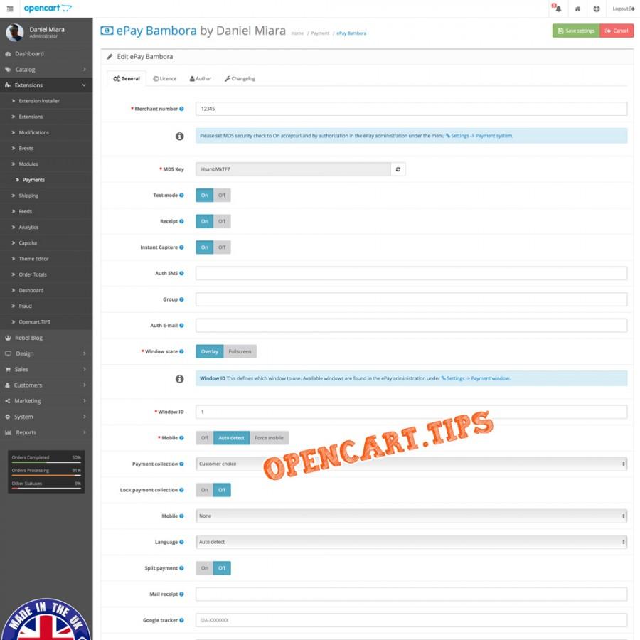 ePay Bambora OpenCart 2