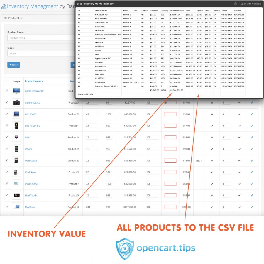Inventory Management OpenCart