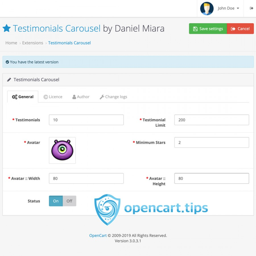 Testimonials - Reviews Carousel OpenCart